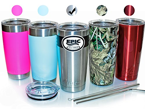 'EPIC Stainless Steel Travel Tumbler Cup - Double Wall Vacuum Insulated Thermal Mug with 2 Lids and 2 Stainless Steel Straws with Brush, 20 oz - Silver' from the web at 'https://images-na.ssl-images-amazon.com/images/I/51IexhLey9L.jpg'