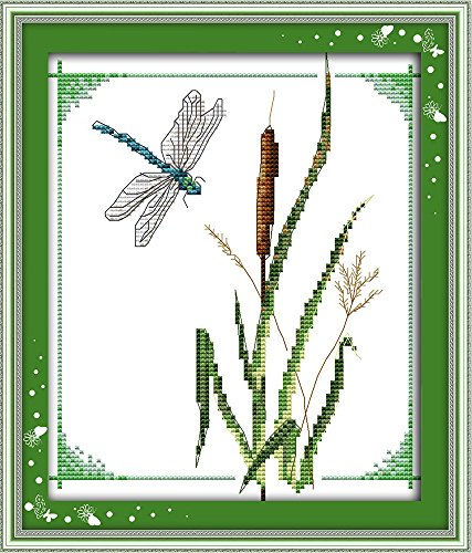 CaptainCrafts Hot New Cross Stitch Kits Needlecrafts Patterns Counted Embroidery Kit - Bamboo Dragonfly (WHITE)