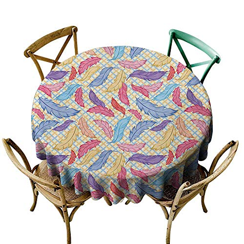 VonGode Stain-Resistant Tablecloth Colorful Different Vane Feather Figures Types on a Square Shape Striped Backdrop Print Washable Tablecloth D63 Multicolor
