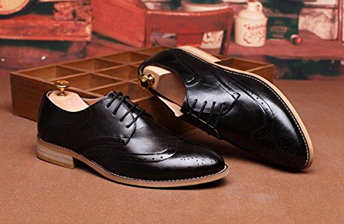 Mens Genuine Leather Oxfords Shoes Hollow Working Wedding Shoes by JiYe Black eD09kh