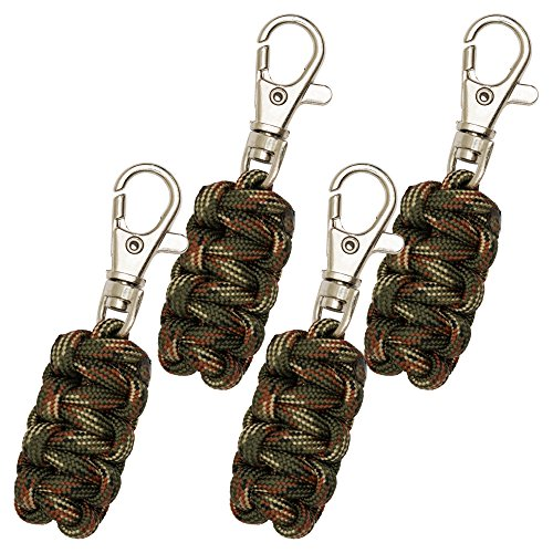 Paracord Zipper Pulls 4 Pack - Camo | Metal Hook Thin Enough To Attach To Almost Any Zipper | Money Back Guarantee ()