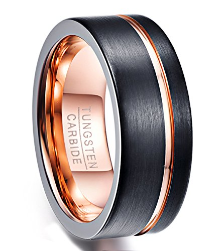 Vakki Basic High Polished Finish Gold Plated Grooved Tungsten Wedding Rings for Women Black Brushed Size 10
