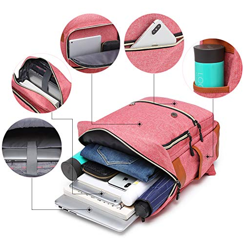 Ronyes Unisex College Bag Fits up to 15.6'' Laptop Vintage Casual Rucksack School Bookbags Backpack Daypacks with USB Charging Port (Pink)