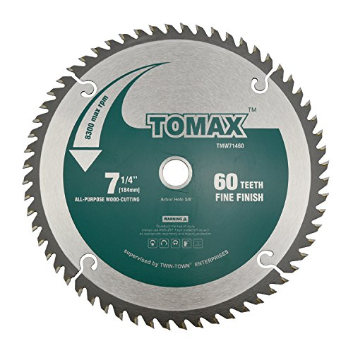 - TOMAX 7-1/4-Inch 60 Tooth ATB Fine Finish Saw Blade with 5/8-Inch DMK Arbor