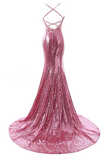 Mermaid DYS Open Back Straps Dresses Bridesmaid Pink Women's Sequins Dress Prom ppFEqw