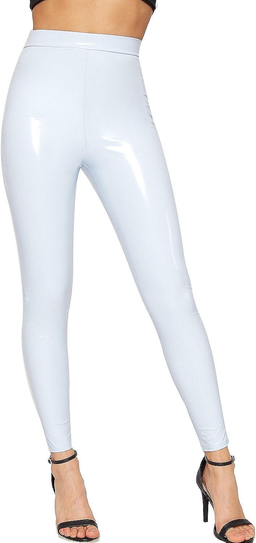 WearAll Femmes Humide Regardez Plein Longueur PVC /Étendue /Élastiqu/ée Jeggings Dames Jambi/ères 34-40