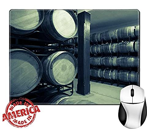 """Luxlady Natural Rubber Mouse Pad/Mat with Stitched Edges 9.8"""" x 7.9"""" IMAGE ID 31728885 Vintage photo of old wine cellar with many - Rioja Wine Cellar"""