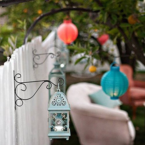 Hanging Plant Brackets, Anpatio 10'' Sturdy Iron Wall Mount Flower Basket Hook Indoor Outdoor Planter Pot Hummingbird Feeder Birdcage Lantern Hanger Black by Anpatio (Image #2)