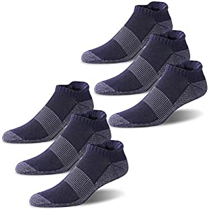 Copper Athletic Socks, Three street Men and Women Thickness Copper Compression Socks Winter Thick Ankle Antibacterial Copper Work Golf Socks Thanksgiving Socks 6 Pairs Navy Blue