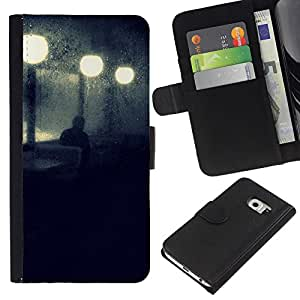 EJOY---La carpeta del tirón la caja de cuero de alta calidad de la PU Caso protector / Samsung Galaxy S6 EDGE / --Calle de la noche luces de la lámpara azul triste