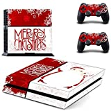 GOOOD PS4 Designer Skin Decal for PlayStation 4 Console System and PS4 Wireless Dualshock Controller - Merry Christmas - White Red Snowflake