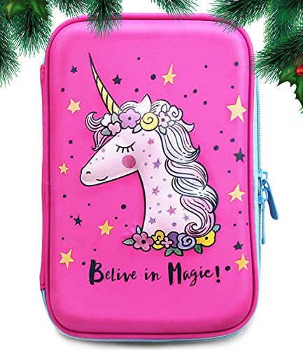 Jojo Kids Unicorn Pencil Case An Awesome Present For Girls | Premium Quality Cute Zipper Pouch | Big Capacity Pen Box With Compartments For School Supplies