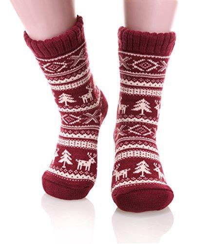 Dosoni Women's Super Warm Deer Fleece Lining Knit Christmas Knee Highs Stockings Slipper Socks (Wine Red) - Sherpa Fleece Wine