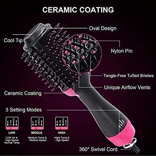 3 en 1 Multifunci/ón Salon Hot Air Paddle Styling Brush Iones Negativo Alisador de Cepillo y Rizador Styler para Todos Los Tipos De Cabello XCBCVHG One Step Secador de Pelo y Voluminizador