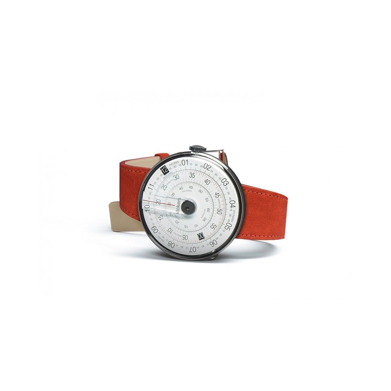 Uhren Klokers Swiss Made KLOK-1 Steel Case Black Point Red Leather Strap K01-CPN-RS