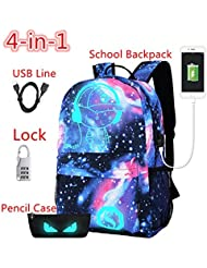 CHUN Luminous USB School Backpack Bag Leisure Star Student Lightweight Backpacks 4-in-1 Galaxy Blue Schoolbag...