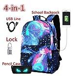 baby lock usb - CHUN Luminous USB School Backpack Bag Leisure Star Student Lightweight Backpacks 4-in-1 Galaxy Blue Schoolbag with USB Charging for Boys Girls