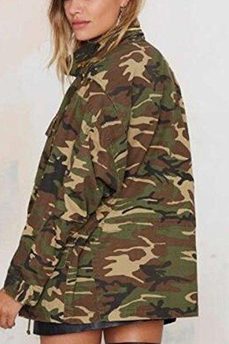 Zilcremo Tee Shirt Outcoat Devant Libert pour Camouflage Camouflage Manches Les Fermeture Longues Les 0qwrA0