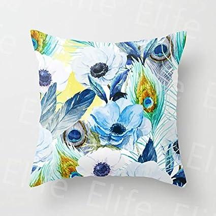 Amazon.com: Polyester Cotton Peacock Cushion Cover Pillow ...