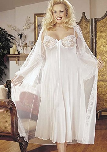 (Plus Size Sexy Long Gown Peignoir Set)