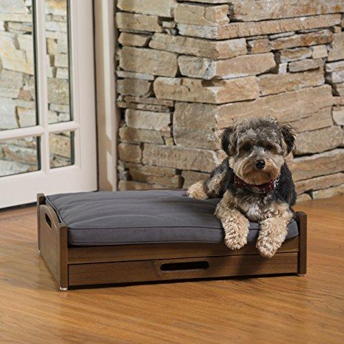 Freedman Mid Century Modern Dark Oak Acacia Wood Dog Bed wit
