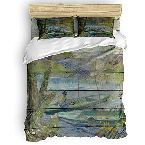 Queen Size Luxury Duvet Cover Set Bed Sheet Set For Women Men,Vincent Van Gogh-Fishing In Spring,The Pont De Clichy (Asnières) Soft Bedding Set,1 Flat Sheet 1 Comforter Cover And 2 Pillow Cases