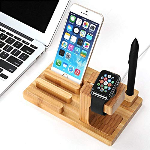 Watch Stand Wood Charging Dock Station with 4-Port USB, Yome Multi-Device Organizer Stand Cradle Bamboo Holder...
