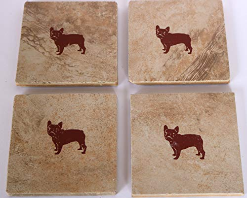 French Bulldog Dog Coasters Ceramic Square Set of 4 Brown White