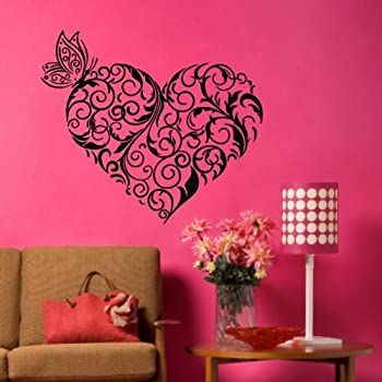 Tgsik Diy Flower Branch Love Heart Wall Decals Vinyl Removable Butterfly Wall Decor Peel Stick