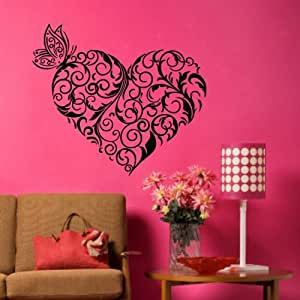 Tgsik diy flower branch love heart wall decals for Home decorations amazon