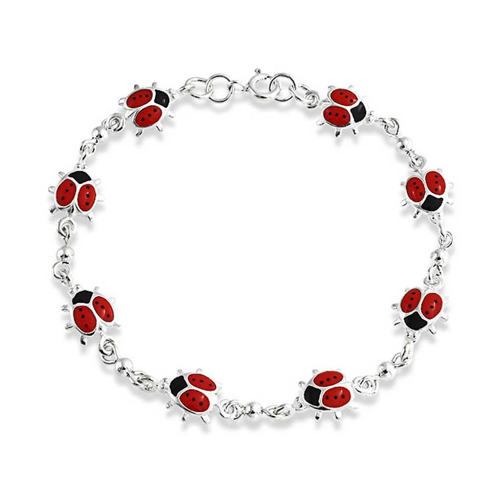 Bling Jewelry Red Enamel Sterling Silver Link Ladybug Bracelet 7.5in PMR-C20131
