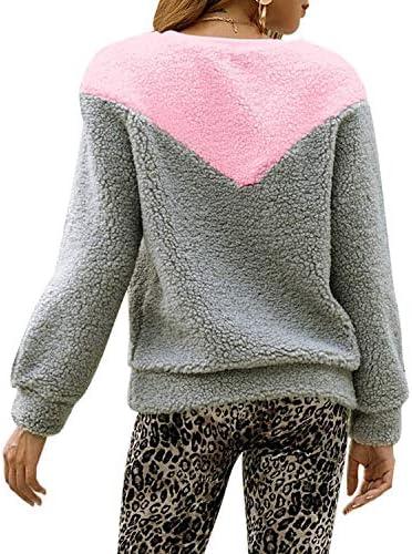 LilyAngel 女性のカジュアルロングスリーブカラーブロックのぬいぐるみのトレーナー (Color : Grey, サイズ : L)