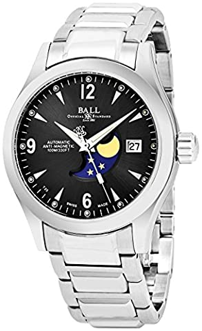 Ball Engineer II Ohio Moonphase Black Face Date Swiss Automatic Stainless Steel Bracelet Watch (Ball Watch Engineer Ohio)