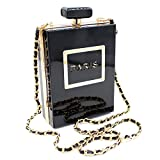 Women Acrylic Black Paris Perfume Shape Evening Bags Purses Clutch Vintage Banquet Handbag (Black)