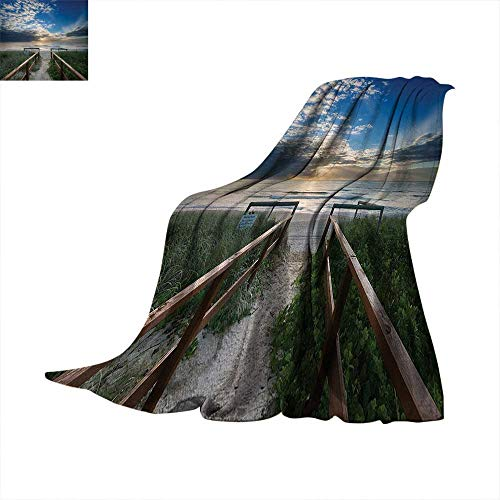 Beach Digital Printing Blanket Entry to The Beach with Leading Handrails Surrounded by Bushes Sunrise Cloudy Weather Summer Quilt Comforter 62