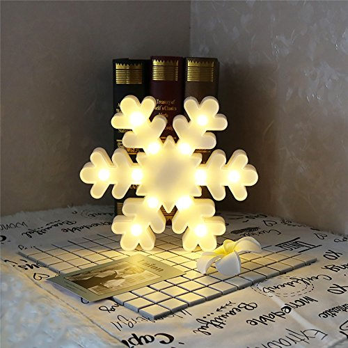 CSKB Unique LED Snowflake Night Light Lamp For Christmas Battery Operated Decorative Night Lights For Nursery Kids Childrens Table Wall Bedroom Home Decoration ()