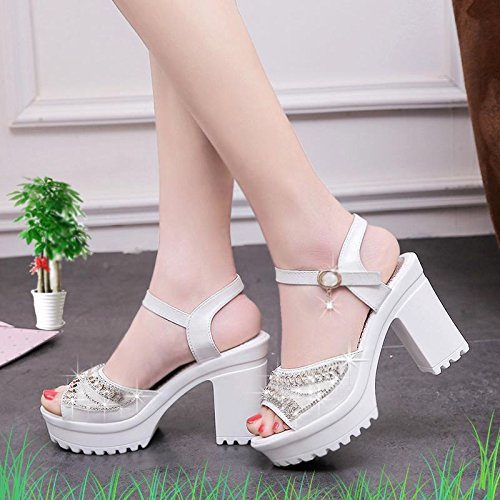 Strass Mouth Chaussures Heel Women's Summer Dress Fish Chunky Buckle amp; Fashion Evening Sandals Party Blanc Lvyuan 1OqIq