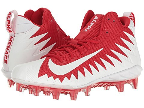 Nike Alpha Menace Pro Mid Men's Football Cleats 871451 611 University Red/White - White (12)