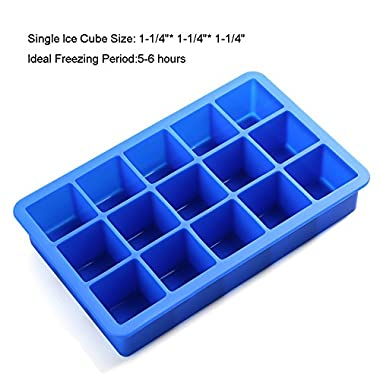Icicle Perfect Stratus Blue Cube Silicone Ice Cube Tray, 100% Food Grade Silicone Ice Tray
