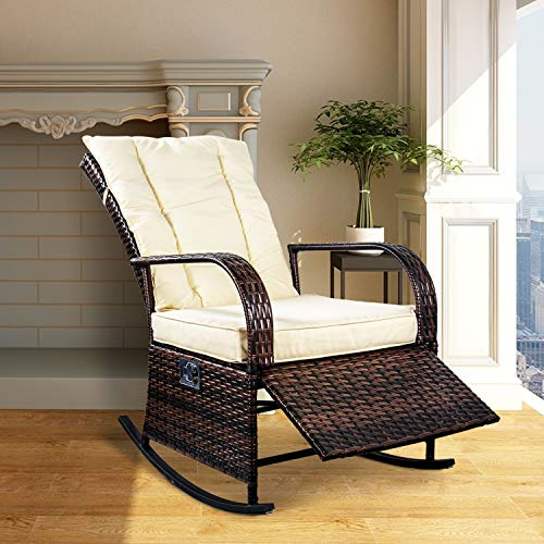 (SCYL Color Your Life Indoor & Outdoor PE Wicker Rocking Chair Porch Garden Lawn Deck Auto Adjustable Rattan Reclining chiar Patio Furniture w/Water-Proof Cushion)