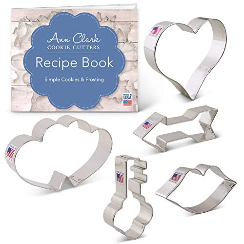 Valentine's Day/Celebration of Love Cookie Cutter Set with Recipe Booklet - 5 pc - Lips, Heart, Key, Arrow & Double Heart - Ann Clark - USA Made Steel