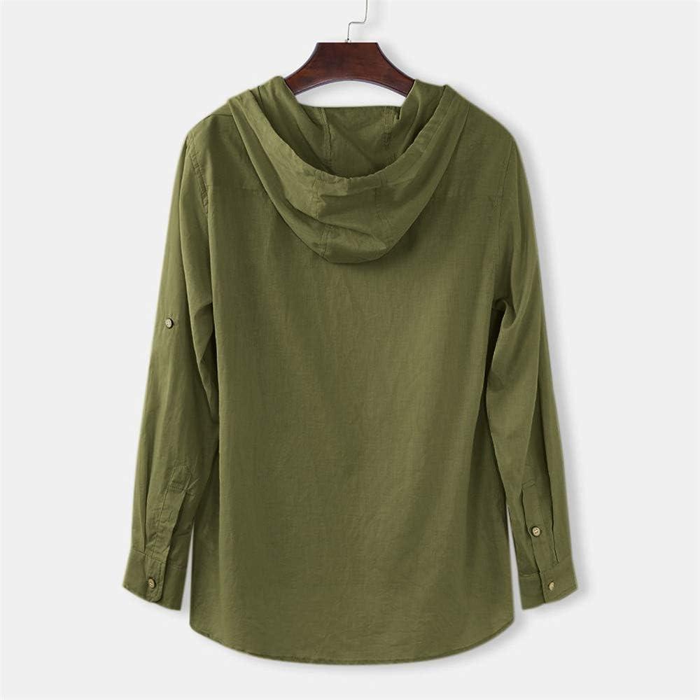 Aniywn Cotton Linen Mens Shirt Loose Casual Hippie Shirt Short Sleeve Beach Hooded Yoga Blouse Top