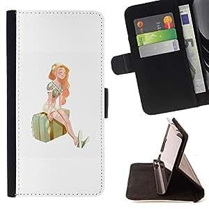 BullDog Case - FOR/Samsung Galaxy S4 Mini i9190 / - / GIRL TRAVEL SUITCASE ART STATION PAINTING SUMMER /- Monedero de cuero de la PU Llevar cubierta de la caja con el ID Credit Card Slots Flip funda de cuer