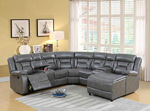 Esofastore Home Theater Sectional Living Room 5pcs Reclining Motion Sectional Sofa Gel Leatherette Loveseat Console Corner Wedge Armless Chair Push Back Chaise Grey Cushion Couch (Motion Recliner Armless)