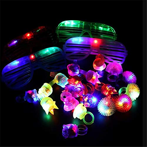 Kids LED Light Up Party Favor Toy Set,LED Flashing Glow Toy,Colorful Party Pack Flashing Led Rings,Bubble Bracelets,Glow Sticks,Glasses for Concert Shows,Event,Raves,Wedding DIY Decoration Supplies -