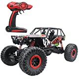 Hugine 2.4Ghz 1/10 Oversize Version R/C Rock Crawler Extreme Radio Control Vehicle 4WD RTR Monster Truck wit LED Lights(Red)