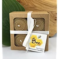 Hand Rolled Beeswax Votive Candles 4pk - By Little Bee of CT, A Martha Stewart American Made Maker