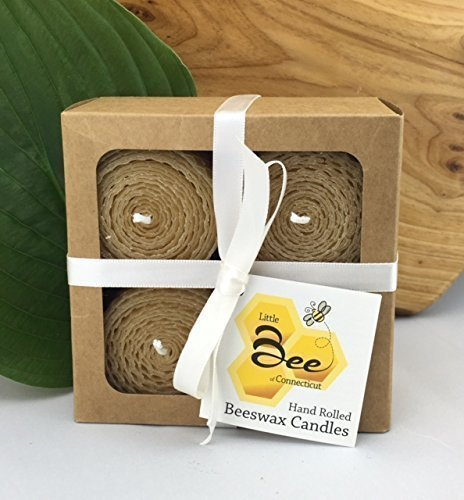 With Honey And Soy (Hand Rolled Beeswax Votive Candles 4pk - By Little Bee of CT, A Martha Stewart American Made Maker)