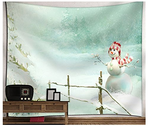 WSHINEIE Wall Tapestry Christmas Snowman Scarf Haning Home Decortion Kids Adults Room Decor Blanket (Wall Tapestry Snowman)