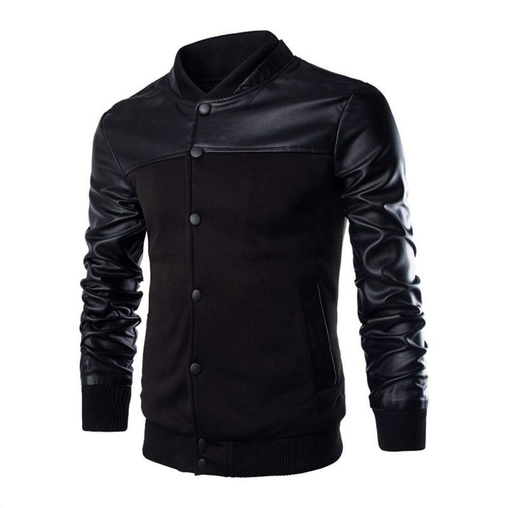 Man Jacket, Ronamick Men's Patchwork Leather Stand Collar Button Autumn Winter Warm Casual Long Sleeve Plus Size Jacket Top Blouse Outerwear Coat